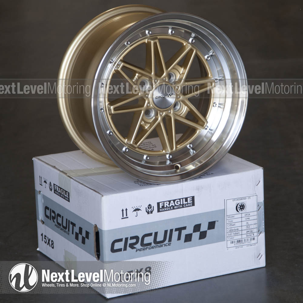 Circuit Performance Wheels: CP24 15x8 4x100 Gloss Gold ...
